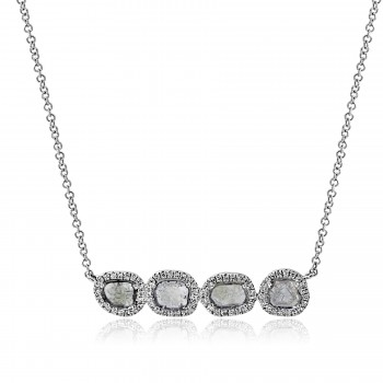 14t w/g diamond slice halo necklace